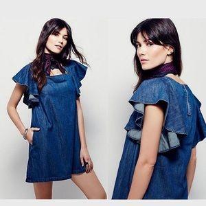 Free People Blue Denim Ruffle Mini Dress